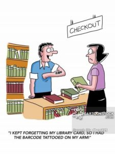 """I kept forgetting my library card, so I had the barcode tattooed on my arm!"""